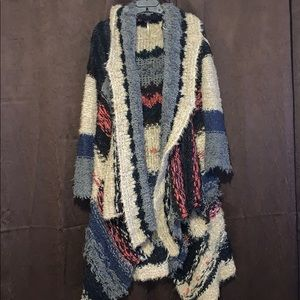 Free People Multicolored Heavy Mixed Wool Cardigan